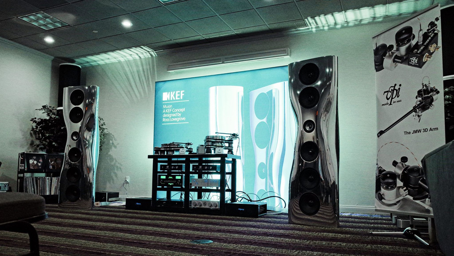 The huge KEF Muons, looking as though they just arrived from outer space, shone in a system with VPI's new statement turntable, Titan.
