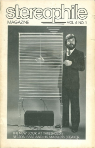Nelson Pass and his Ion Cloud speaker on the cover of Stereophile, Volume 6, No. 1, 1983.