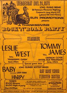 Concert poster for Leslie West, Twisted Sister and others at the Long Island Arena, November 24, 1976.