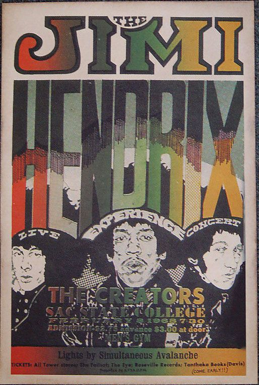 Image result for jimi hendrix sac state 1968 poster