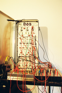 "A home-made analog modular synthesizer called ""Bob"", which the author started building when he was 16 years old. It eventually escalated into an audio-visual synthesizer. Photo courtesy of the author's vault of audio adventures."