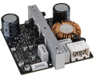 An ICEPower 1000A Class D mono amp module, available from Parts Express. It measures about 4 inches square and puts out 1,000 watts.