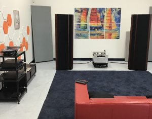 One of several listening rooms at Rogue Audio.