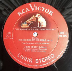 """An RCA Living Stereo """"Shaded Dog"""" label."""