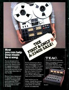 In its day the Teac A-3340S was the machine for musicians recording at home or making demos. We hope the photo shoot didn't take too long...that thing is heavy! From Audio, July 1977.