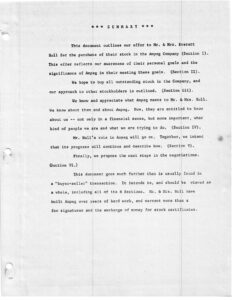 Page 1 of the original Ampeg 1960s buyout agreement for former owner Everett Hull. Albert J. Dauray was one of the purchasers.