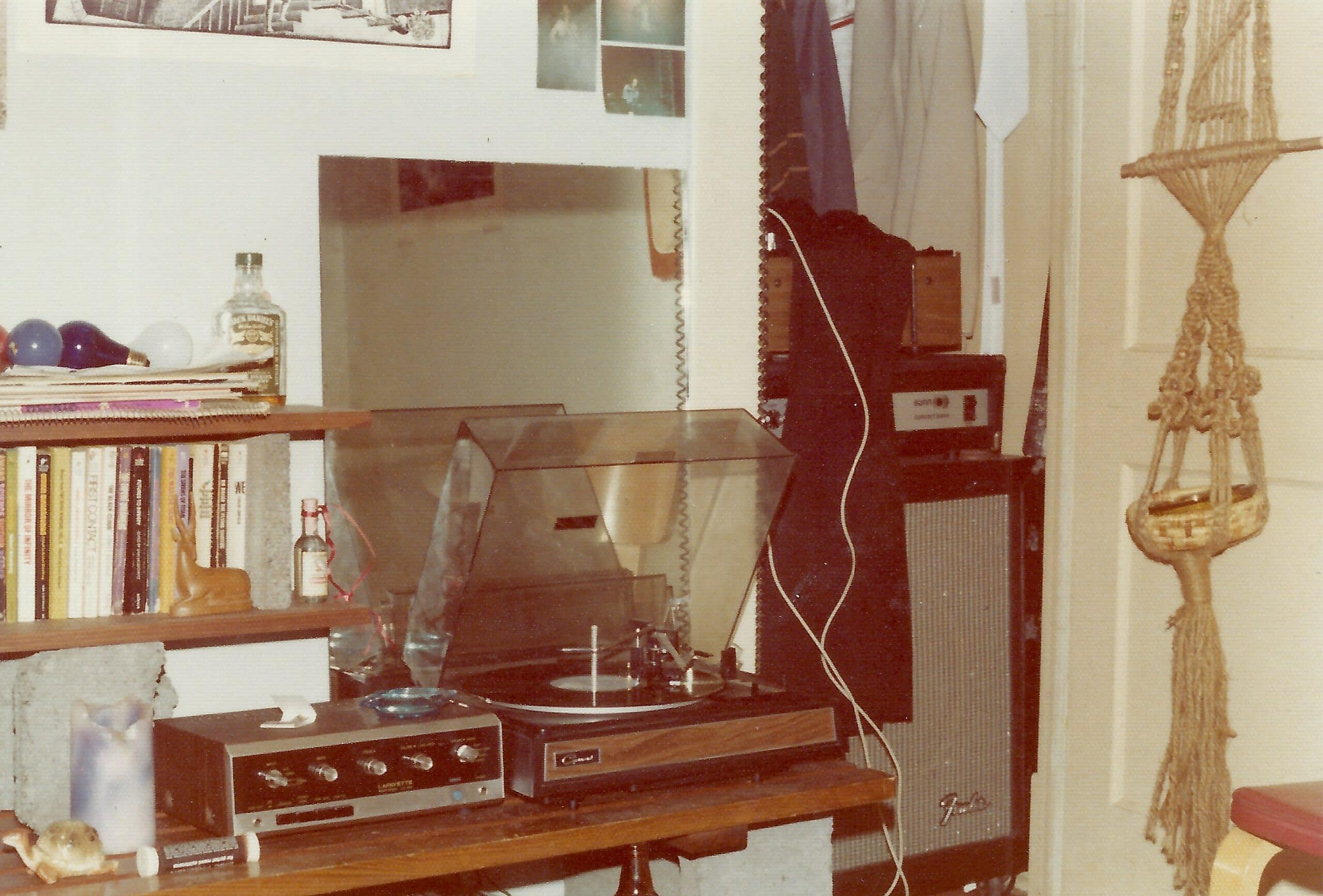 I did <em>not</em> stress out about this system sounding too good circa 1976-1977. Lafayette integrated amp, Garrard turntable, EPI 50 speakers (not shown). A friend's Sunn Concert Bass amp and homemade guitar speaker cabinet are in the closet.