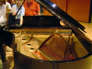 The soundboard of a Steinway grand piano. Courtesy of Wikimedia Commons/Halley from Boston.