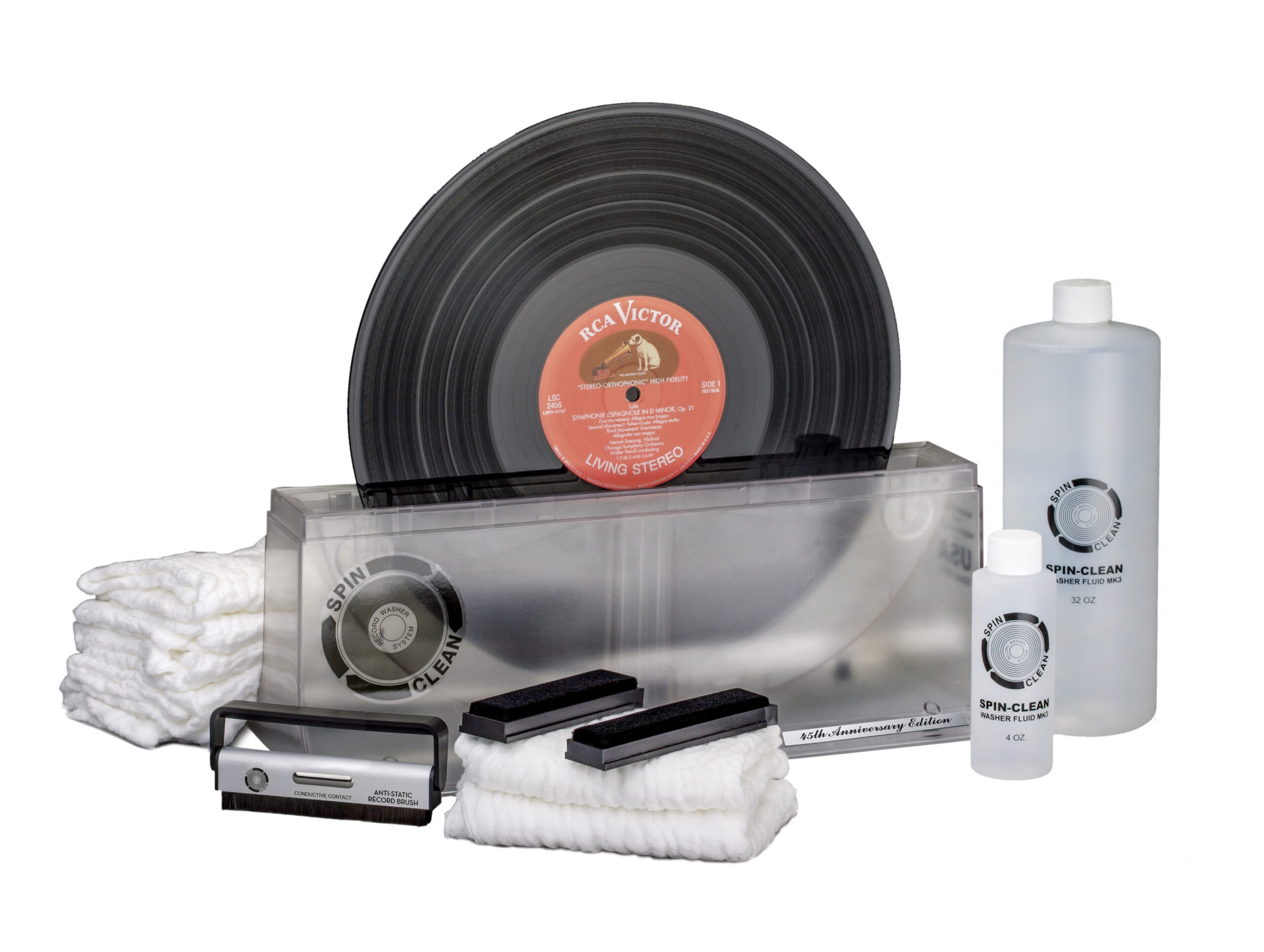 """Limited-edition, 45th anniversary Spin-Clean Record Washer MKII """"Clear"""" Deluxe Kit."""