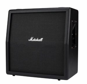Tilting speakers back can work for guitar amps too! A Marshall 4 x 12-inch speaker cabinet with the top two speakers angled.