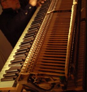 The piano's action.