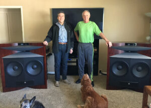 The author with Greg Timbers and his Everest loudspeakers in 2016. Greg recently told me that he had completely redesigned the Everest with a new horn and bass enclosure.He made the prototype of the horn with his 3D printer!