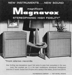 We don't know what we want more – the speakers, the lamp or the table. Magnavox ad, 1958.