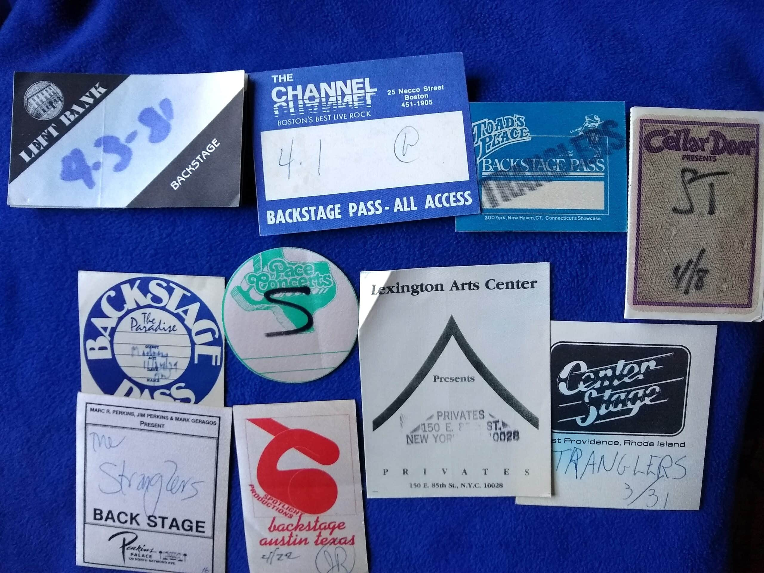 The Stranglers' backstage passes.