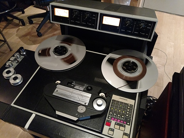 A custom preview-head tape machine built out if an Ampex ATR-104 machine by Michael Spitz for Sterling Sound. Photo courtesy of Joe Nino-Hernes.