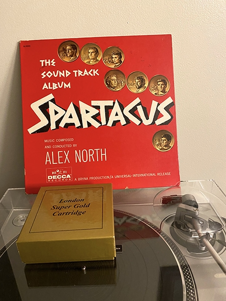 Mythological: the Spartacus soundtrack and the London Decca Super Gold cartridge.