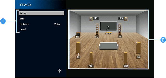 Setup screen from the Yamaha Parametric room Acoustic Optimizer (YPAO) system.