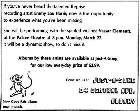 Ad for Just-A-Song Records, March 19, 1976 in the Albany Student Press.