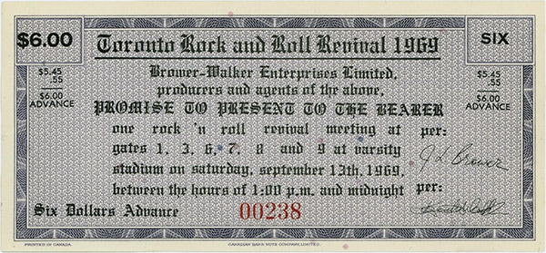 Ticket to Toronto Rock and Roll Revival 1969.