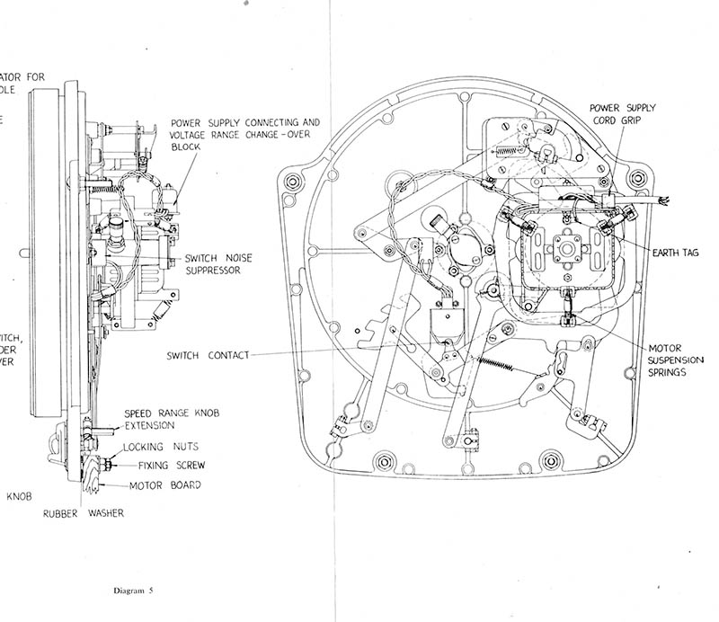 Illustration from the owner's manual showing the side and bottom views of the Garrard 301 motor unit.