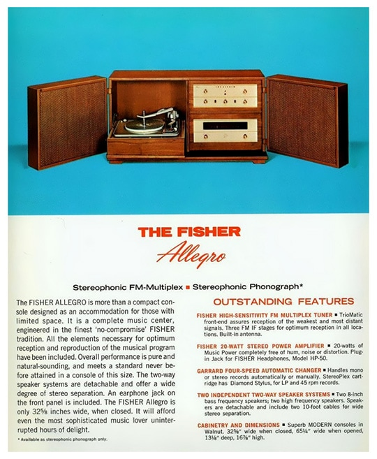 Ad for the Fisher Allegro system, 1964. Nice looking components...too bad about those speakers though.