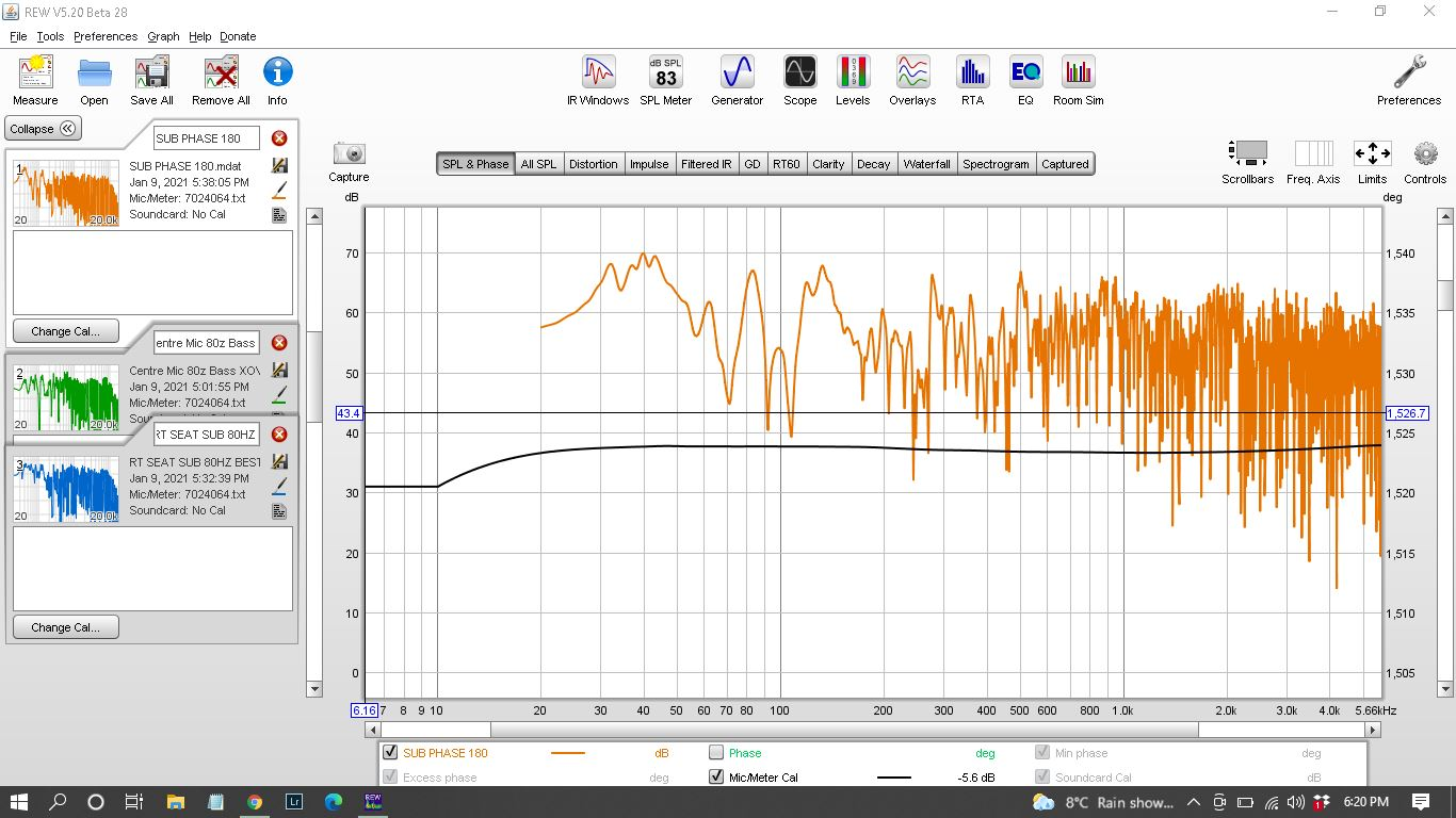 Adjusting the subwoofer phase response in REW Room EQ Wizard. The better result is with the phase at 0 degrees, indicated by the waveform in blue. The waveform in orange shows the phase set at 180 degrees.