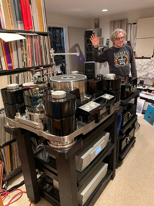 Michael Fremer and the TechDAS Air Force Zero turntable.