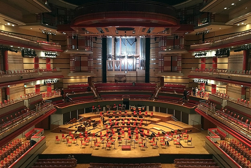 Symphony Hall, Birmingham, England. On a good, transparent recording and system, you can get a sense of a hall's acoustics. Courtesy of Wikimedia Commons/JimmyGuano.