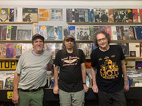 """""""Beatle Ted"""" Iarocci, Tim Clair and Larry Jaffee at Record Reserve, Northport, New York, August 2021."""