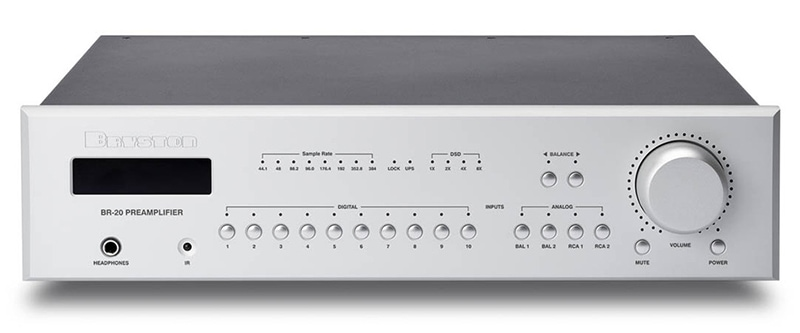 Bryston BR-20 preamplifier, front view.